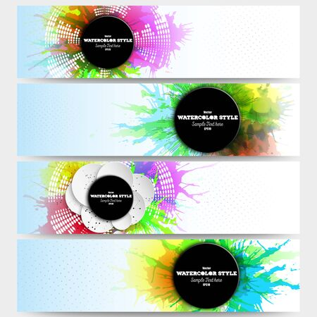 Web banners collection, abstract header layouts. Set of colorful headers with  watercolor stains and place for text,  illustration templates.