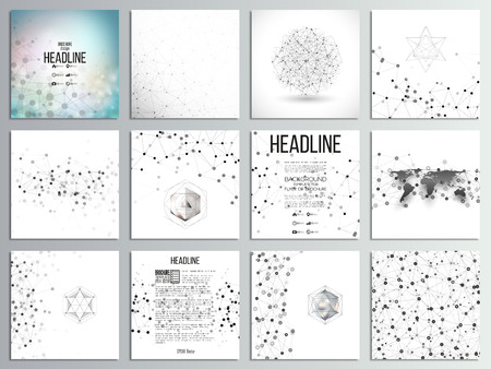 research: Set of 12 creative cards, square brochure template design. Molecular structure, gray backgrounds for communication, science abstract illustration.