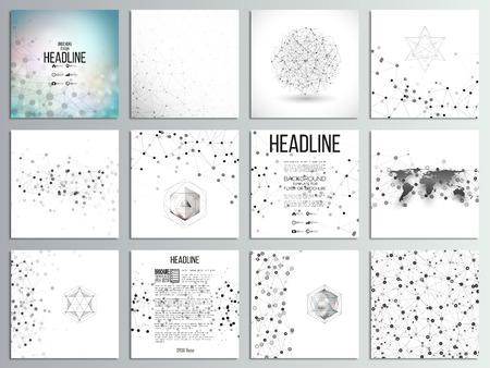 Set van 12 creatieve kaarten, vierkante brochure sjabloon ontwerp. Moleculaire structuur, grijs achtergronden voor communicatie, wetenschap abstracte illustratie.