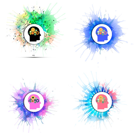 gears concept: Vector icons set of human head with gears. Concept of human thinking. Colorful design with stains and blots