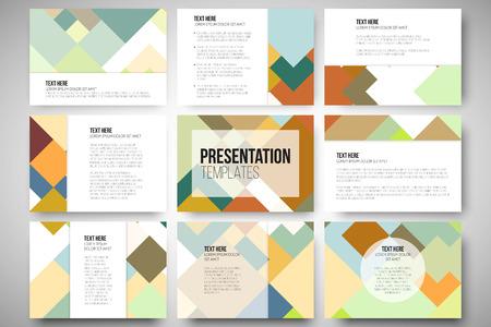 Reeks van 9 vector sjablonen voor presentatiedia's. Abstract gekleurde achtergrond, vierkant ontwerp vector illustratie.