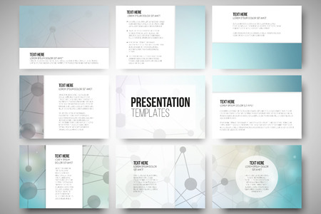 poster designs: Set of 9 vector templates for presentation slides. Graphic design of molecule structure, blue scientific vector background.