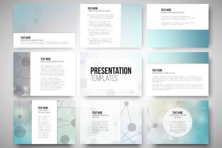 template: Set van 9 vector sjablonen voor presentatie dia's. Grafisch ontwerp van molecule structuur, blauwe wetenschappelijke vector achtergrond.
