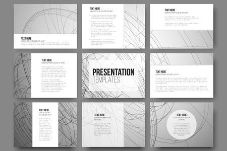 프리젠 테이션 슬라이드 9 벡터 템플릿 집합입니다. 개념적 추상 과학 벡터 배경, 최소한의 디자인
