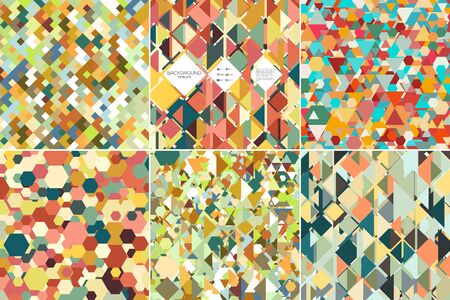 Set of colorful geometric backgrounds, abstract triangle-hexagonal-square  patterns, vector illustration. Illustration