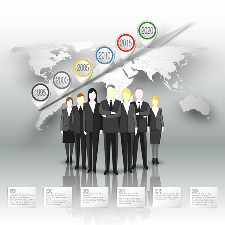 work worker workforce world: Group of a professional business team standing in front of gray background with timeline and world map. Vector infographic template for business design.