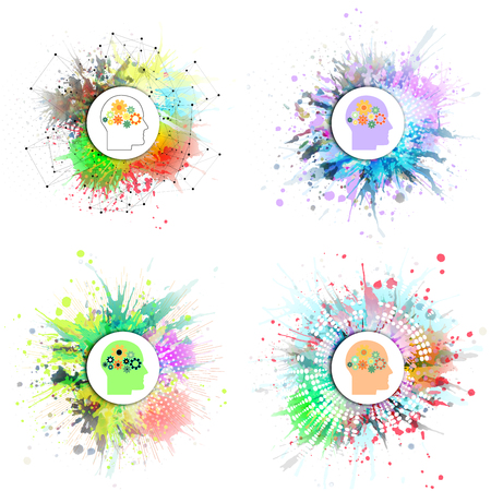 blots: Vector icons set of human head with gears. Concept of human thinking. Colorful design with stains and blots