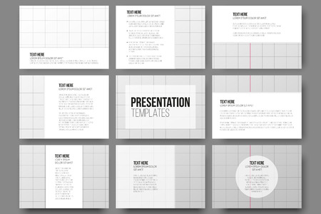 exercise book: Set of 9 vector templates for presentation slides. Sheet of school exercise book, education vector background. Illustration