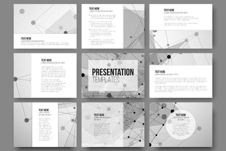 プレゼンテーションのスライドの 9 テンプレートのセット。抽象的な灰色の背景、三角形デザインのベクトル。