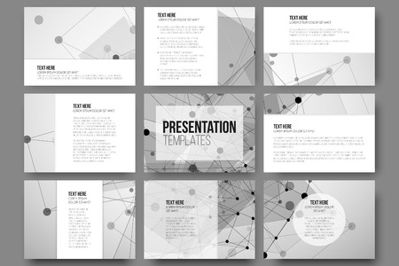 Set of 9 templates for presentation slides. Abstract gray backgrounds, triangle design vectors. Çizim