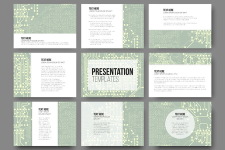 Set of 9 templates for presentation slides. Microchip backgrounds, electrical circuits backdrops. Business patterns, science vector design.