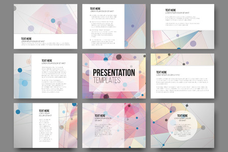 Set of 9 templates for presentation slides. Abstract colored backgrounds, triangle design vectors. Illustration