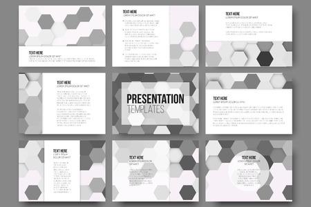 gray backgrounds: Conjunto de 9 plantillas para diapositivas de la presentaci�n. Fondos grises geom�tricos, abstractos patrones vector hexagonales. Vectores