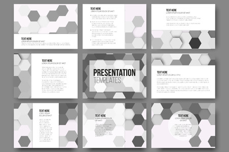slides: Set of 9 templates for presentation slides. Geometric gray backgrounds, abstract hexagonal vector patterns.