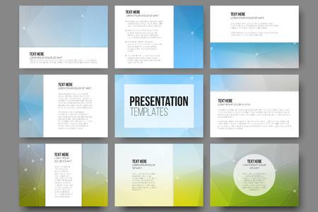 プレゼンテーションのスライドの 9 テンプレートのセット。三角形のデザインのベクトルの背景.  イラスト・ベクター素材