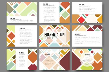 Set of 9 templates for presentation slides. Abstract colored backgrounds, square design vectors. Ilustração