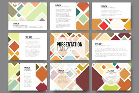 Set of 9 templates for presentation slides. Abstract colored backgrounds, square design vectors. Illustration
