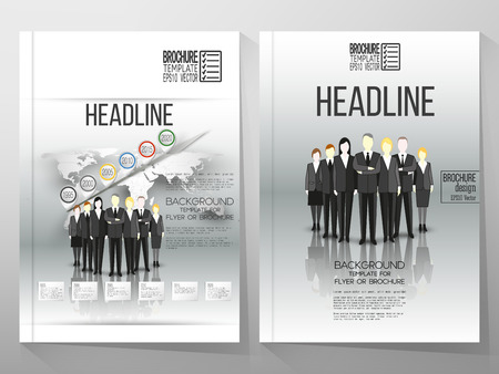 portadas de libros: Business vector templates for brochure, flyer or booklet. Group of a professional business team standing in front of gray background with timeline and world map. Vector infographic template for business design.