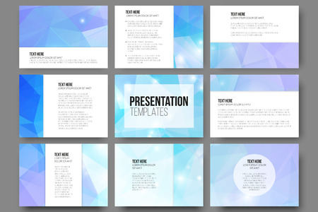 slide show: Set of 9 vector templates for presentation slides. Abstract triangle design vector background.