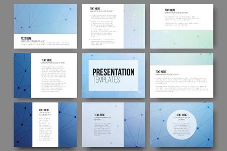 sjabloon: Set van 9 vector sjablonen voor presentatie dia's. Blauwe vector achtergrond met molecule structuur