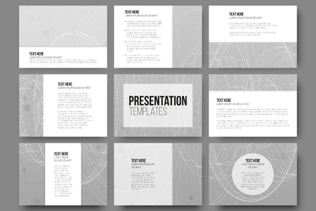 page layout: Set of 9 vector templates for presentation slides. Conceptual abstract scientific vector background, minimalistic design