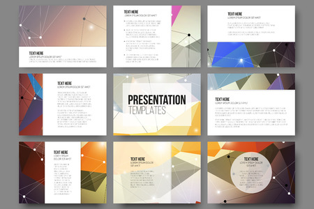 Set of 9 vector templates for presentation slides. Abstract colored background, triangle design vector illustration.