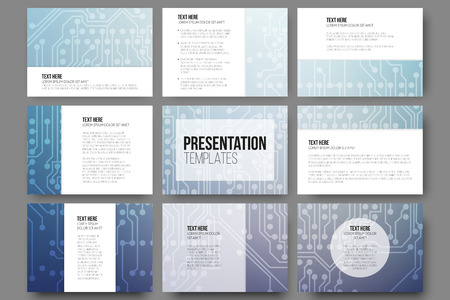 Set of 9 vector templates for presentation slides. Abstract microchip background, scientific electronic design, vector illustration.