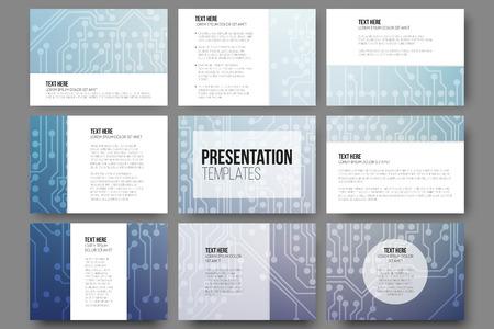 Set van 9 vector sjablonen voor presentatie dia's. Abstracte microchip achtergrond, wetenschappelijke electronic design, vector illustratie.