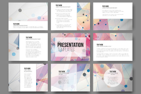 プレゼンテーションのスライドの 9 テンプレートのセット。カラーの背景、三角形デザインのベクトルを抽象化します。