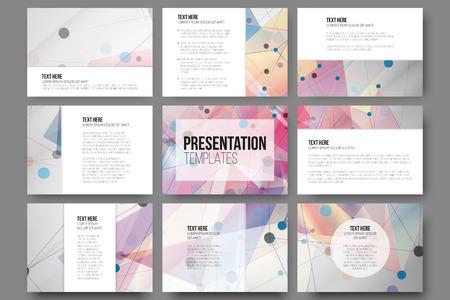 Reeks van 9 templates voor de presentatie dia's. Abstracte gekleurde achtergronden, driehoek ontwerp vectoren.
