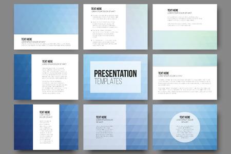 プレゼンテーションのスライドの 9 テンプレートのセット。抽象的な青い背景。三角形のデザインのベクトル。  イラスト・ベクター素材