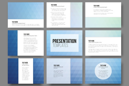 triangle: Set of 9 templates for presentation slides. Abstract blue backgrounds. Triangle design vectors.
