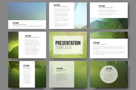 Set van 9 sjablonen voor presentatiedia's. Driehoek ontwerp vector achtergronden. Stock Illustratie