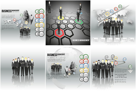staff meeting: Set of vector infographic templates for your design. Group of a professional business team standing over gray background with timeline, world map or globe. Illustration