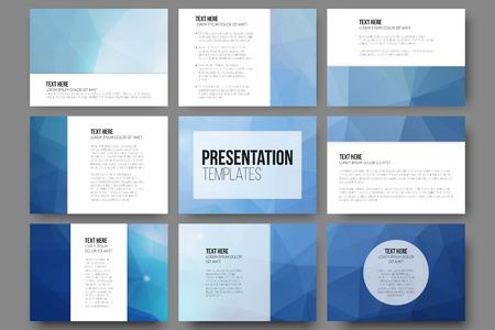 Ensemble de 9 modèles de vecteur pour les diapositives de présentation. Résumé triangle vecteur de conception de fond.