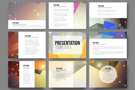 presentation: Set of 9 vector templates for presentation slides. Abstract colored background, triangle design vector illustration.