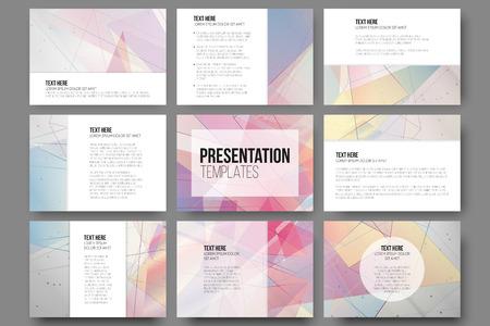 Set van 9 sjablonen voor presentatie dia's. Abstracte gekleurde achtergronden, driehoek ontwerp vectoren.