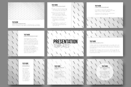 Set Von 9 Vorlagen Für Präsentationen. Geometrisch Grau Hintergrund ...