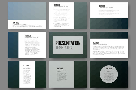 website layout: Set of 9 templates for presentation slides. Geometric blurred backgrounds, abstract hexagonal vector patterns. Illustration