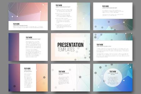 sjabloon: Reeks van 9 vector sjablonen voor presentatiedia's.