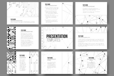 fond de texte: Ensemble de 9 modèles de vecteur pour les diapositives de présentation. Illustration