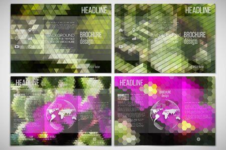 on both sides: Vector set of tri-fold brochure design template on both sides.