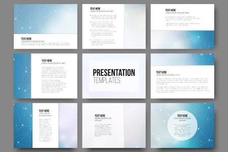 Reeks van 9 vector sjablonen voor presentatiedia's.