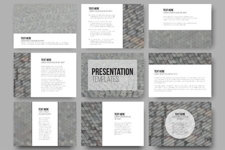cobblestone street: Set of 9 templates for presentation slides. Abstract multicolored backgrounds. Geometrical patterns. Triangular and hexagonal style. Illustration