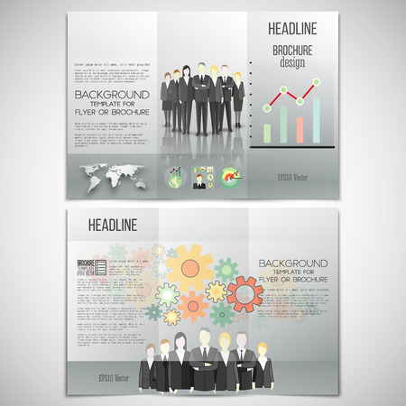 Vector set of tri-fold brochure design template on both sides. Group of a professional business team standing over gray background with world map. Vector infographic template for your design.