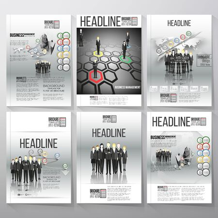 business team: Business vector templates for brochure, flyer or booklet. Group of a professional business team standing in front of gray background. Vector infographic templates for business design. Illustration