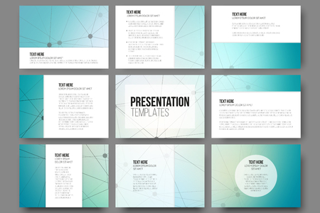 Set of 9 vector templates for presentation slides. Blue vector background with molecule structure Ilustração