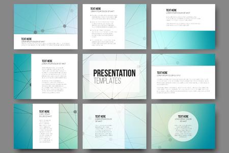 Set van 9 vector sjablonen voor presentatie dia's. Blauwe vector achtergrond met molecule structuur