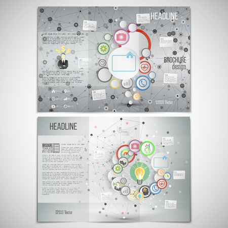 grey backgrounds: Vector set of tri-fold brochure design template on both sides. Gray backgrounds, infographic networks with icons for business vector templates.