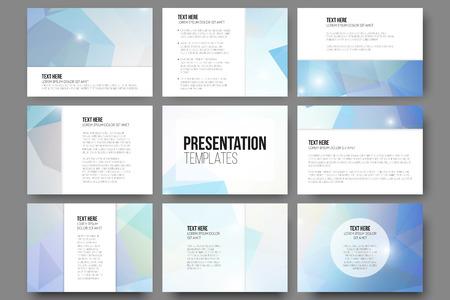 Set van 9 vector sjablonen voor presentatie dia's. Abstract driehoek ontwerp vector achtergrond.